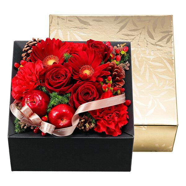 【クリスマスフラワー】赤バラのBOXフラワー 511807 |花キューピットの2019クリスマスフラワー特集