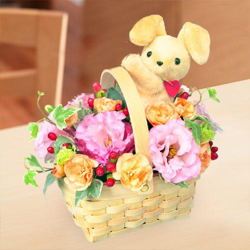 【秋の花贈り】ラブリーうさぎバスケット 511818 |花キューピットの2019秋のお祝いプレゼント特集