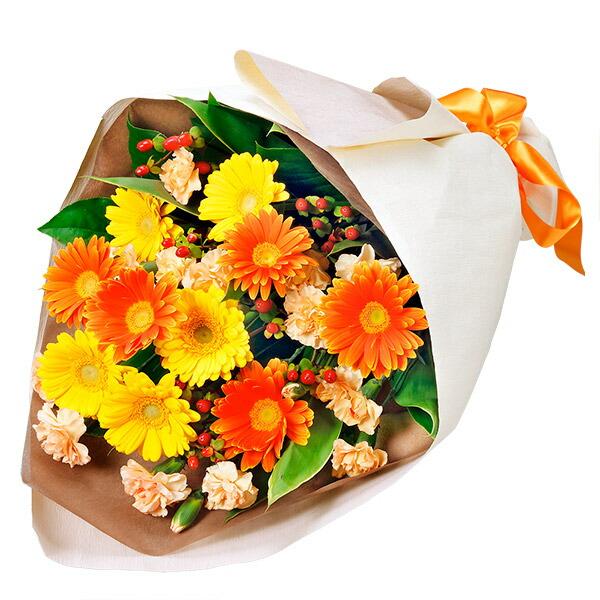 【秋の誕生日】イエロー&オレンジガーベラの花束 511897  花キューピットの秋のお祝いプレゼント特集2019