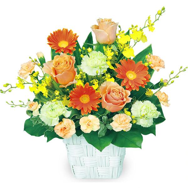 【秋の結婚記念日】オレンジバラのスクエアバスケット 511898 |花キューピットの2019秋のお祝いプレゼント特集