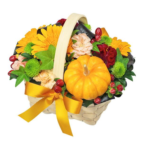 【秋の花贈り】ハロウィンのオレンジバスケット 511914 |花キューピットの2019秋のお祝いプレゼント特集