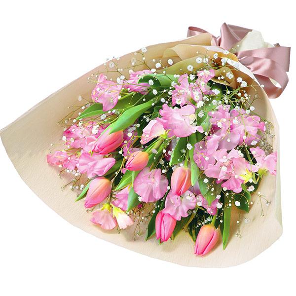 【チューリップ特集】チューリップとスイートピーの花束(ピンク) 511934 |花キューピットの2020チューリップ特集特集