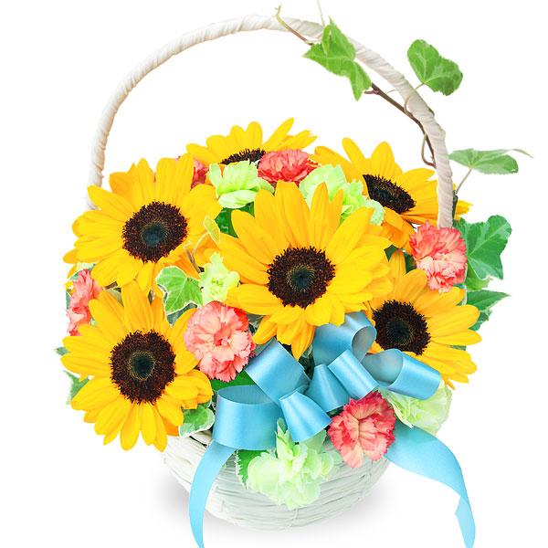 【結婚記念日】ひまわりのリボンバスケット 511963 |花キューピットの結婚記念日プレゼント特集2020
