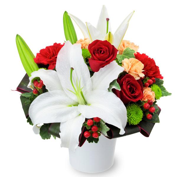 【結婚記念日】ユリと赤バラのエレガントアレンジメント 511968 |花キューピットの結婚記念日プレゼント特集2020