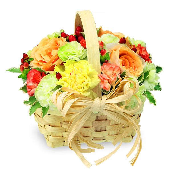 【秋の誕生日】ビタミンカラーのウッドバスケット 512026  花キューピットの秋のお祝いプレゼント特集2019