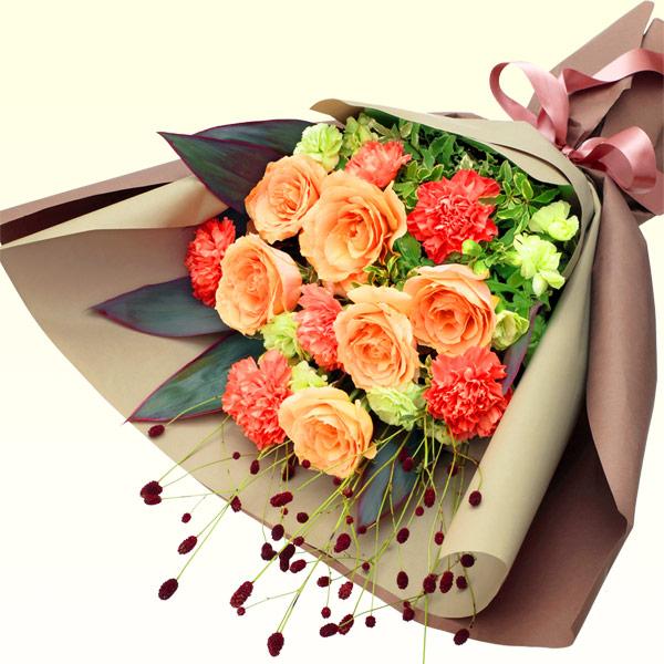 【秋の結婚記念日】オレンジバラのエレガントな花束 512031 |花キューピットの2019秋のお祝いプレゼント特集