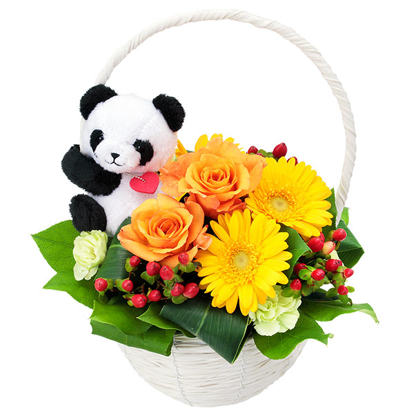 【秋の結婚記念日】オレンジバラのマスコット付きバスケット(パンダ) 512037 |花キューピットの2019秋のお祝いプレゼント特集