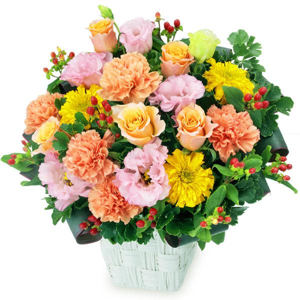 【秋の花贈り】オレンジバラとトルコキキョウのアレンジメント 512039 |花キューピットの2019秋のお祝いプレゼント特集