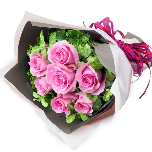 【秋の結婚記念日】ピンクバラ7本の花束 512051 |花キューピットの2019秋のお祝いプレゼント特集