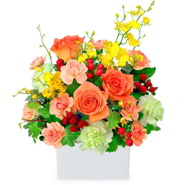 【秋の花贈り】オレンジバラの華やかアレンジメント 512053 |花キューピットの2019秋のお祝いプレゼント特集