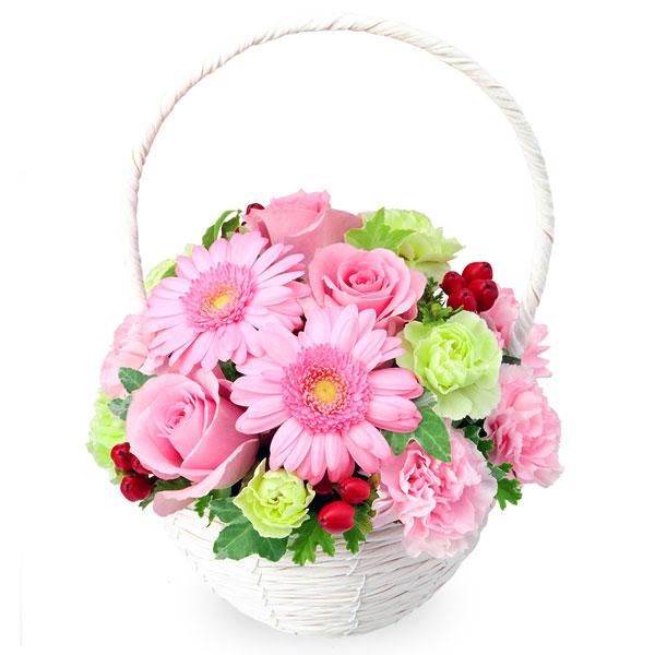 【バレンタイン特集】ピンクバラとガーベラのナチュラルバスケット 512054 |花キューピットのフラワーバレンタイン特集2020