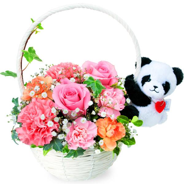 【秋の花贈り】ピンクバラのマスコット付きバスケット(パンダ) 512055 |花キューピットの2019秋のお祝いプレゼント特集
