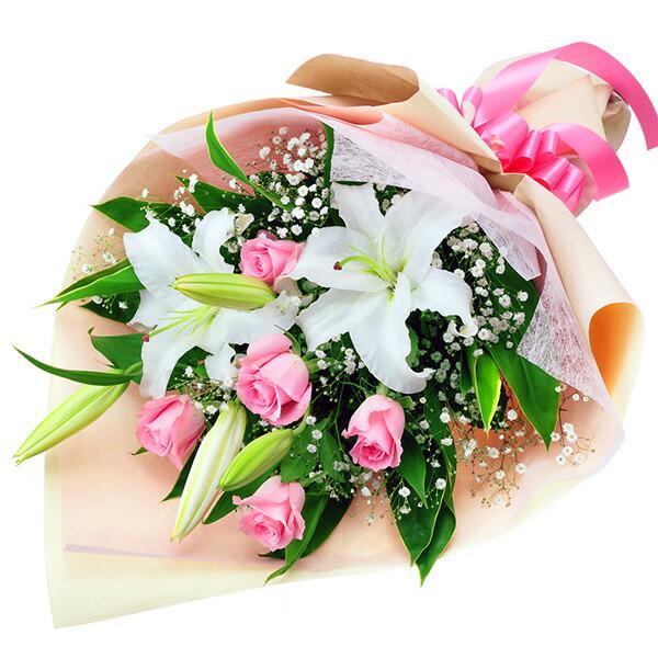 【春の退職祝い・送別会特集】ユリとピンクバラの花束 512064 |花キューピットの2020春の退職祝い・送別会特集特集