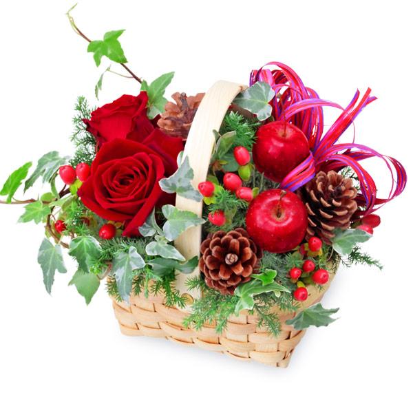 【クリスマス】クリスマスのウッドバスケット 512066 |花キューピットのクリスマスプレゼント特集2020