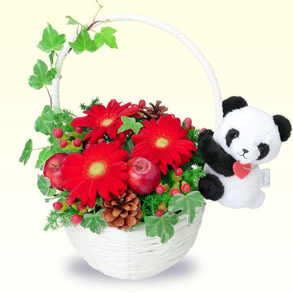 【クリスマスフラワー】クリスマスのマスコット付きバスケット 512067 |花キューピットの2019クリスマスフラワー特集