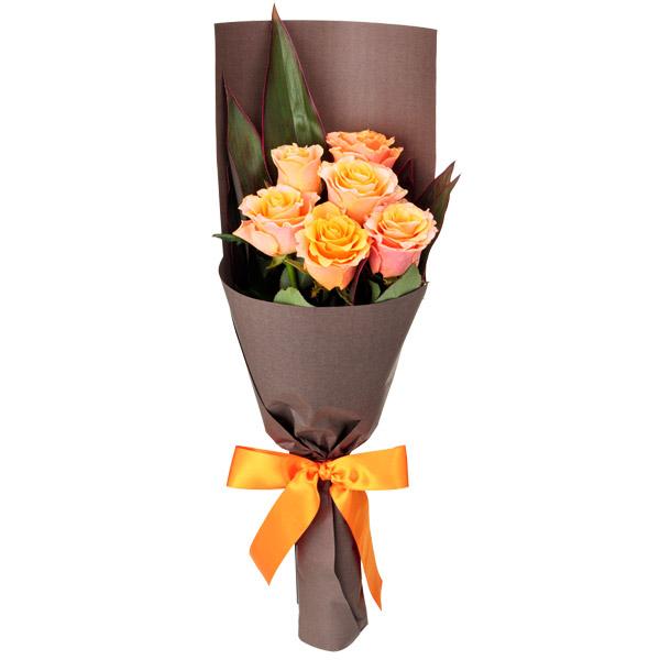 【秋の結婚記念日】オレンジバラ6本の花束 512074 |花キューピットの2019秋のお祝いプレゼント特集