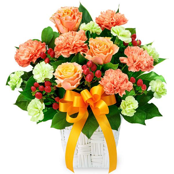 【秋の結婚記念日】バラとオレンジリボンのアレンジメント 512075 |花キューピットの2019秋のお祝いプレゼント特集