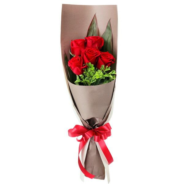 【クリスマス】赤バラ5本の花束 512083 |花キューピットのクリスマスプレゼント特集2020