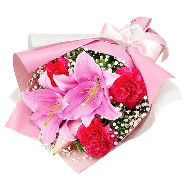 【秋の誕生日】ピンクユリのブーケ 512087  花キューピットの秋のお祝いプレゼント特集2019