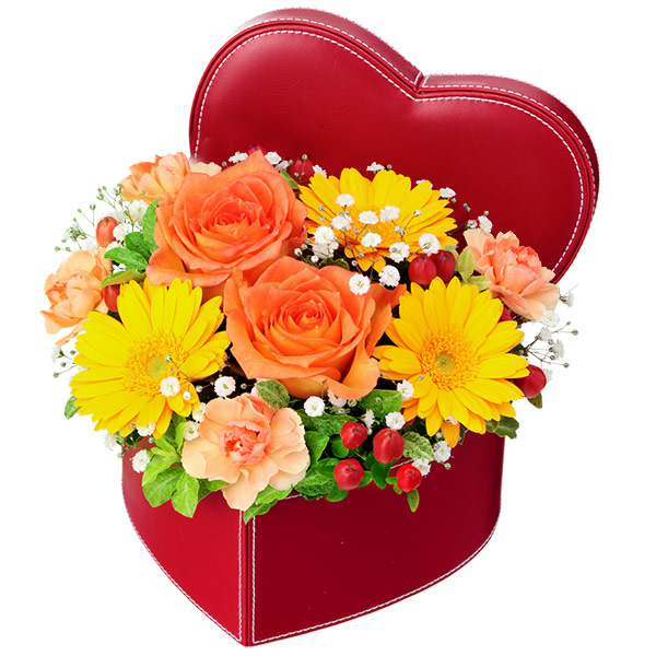 【秋の結婚記念日】オレンジバラのハートボックスアレンジメント 512114 |花キューピットの2019秋のお祝いプレゼント特集