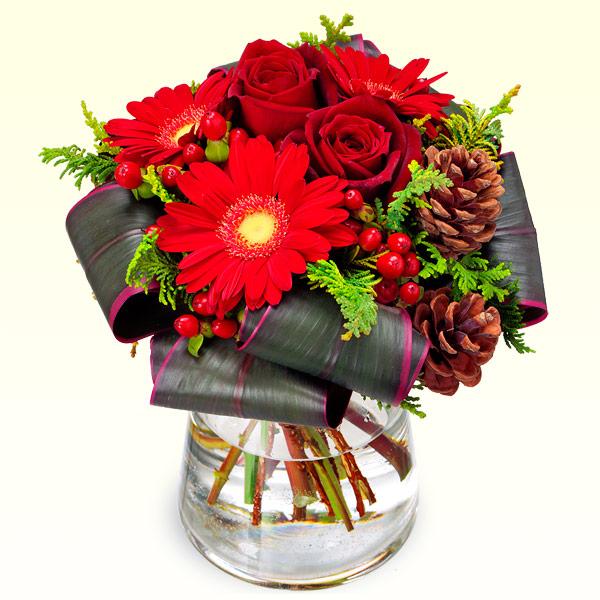 【クリスマスフラワー】クリスマスのグラスブーケ 512117 |花キューピットの2019クリスマスフラワー特集