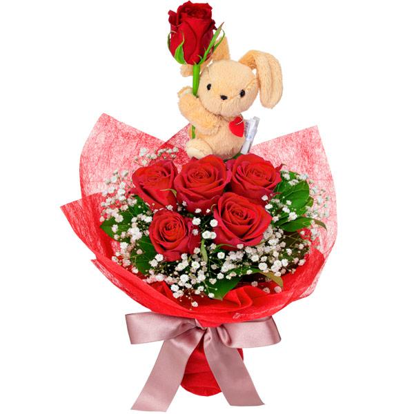 【結婚記念日】赤バラのマスコット付きブーケ 512118 |花キューピットの結婚記念日プレゼント特集2020