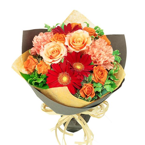 【春の退職祝い・送別会特集】オレンジバラと赤ガーベラのナチュラルブーケ 512123 |花キューピットの2020春の退職祝い・送別会特集特集