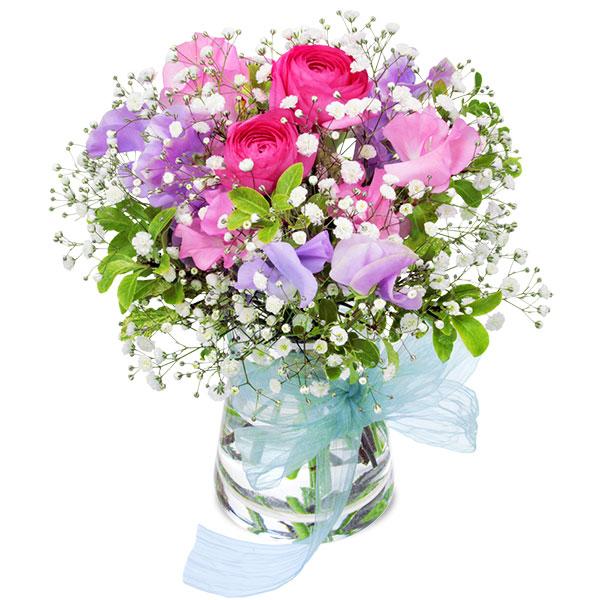 【春の誕生日】ラナンキュラスとスイートピーのグラスブーケ 512145 |花キューピットの2020春の誕生日特集