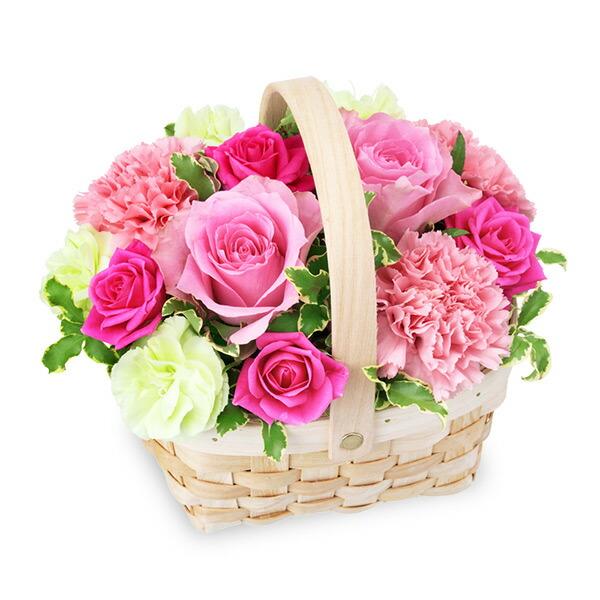 【バレンタイン特集】ピンクのウッドバスケット 512162 |花キューピットのフラワーバレンタイン特集2020