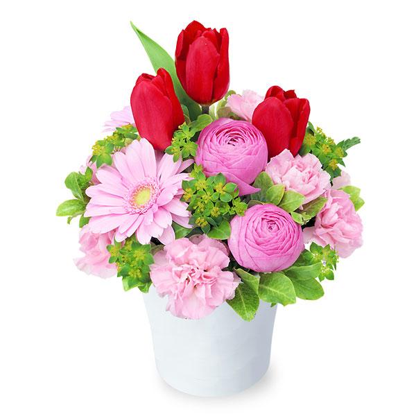 【チューリップ特集】赤チューリップのナチュラルアレンジメント 512192 |花キューピットの2020チューリップ特集特集