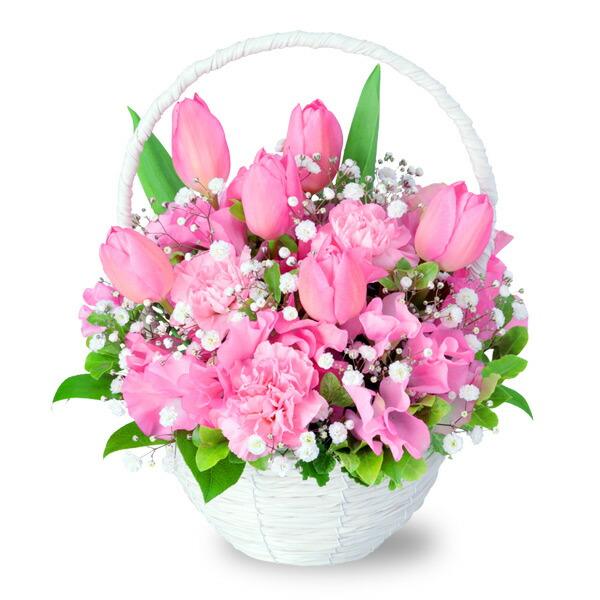 【チューリップ特集】ピンクチューリップのナチュラルバスケット 512193 |花キューピットの2020チューリップ特集特集