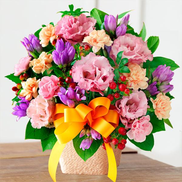 【敬老の日】オレンジリボンのアレンジメント 522082 |花キューピットの2019敬老の日プレゼント特集