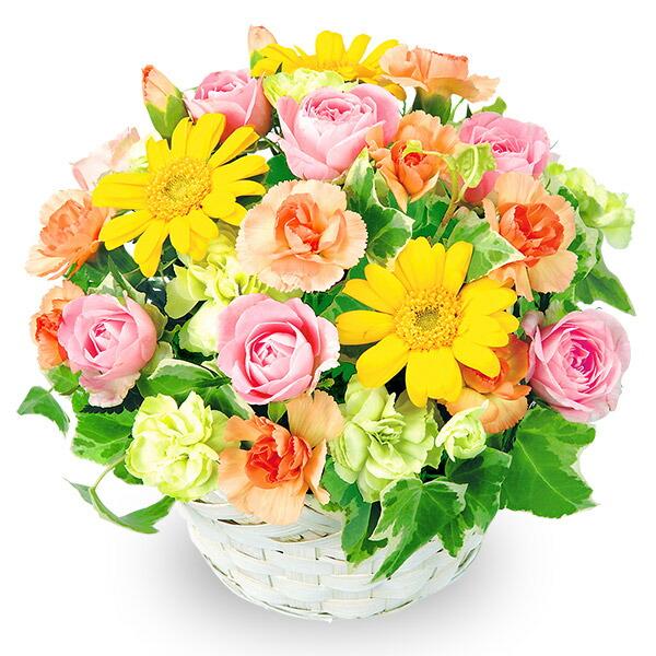 【秋の花贈り】イエローオレンジバスケット 613003 |花キューピットの2019秋のお祝いプレゼント特集