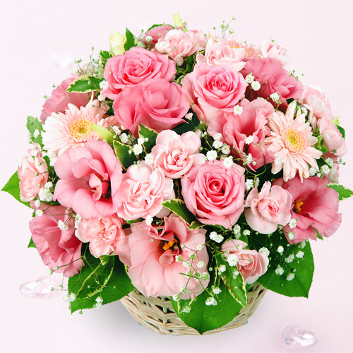 【秋の結婚記念日】ピンクアレンジメント 613009 |花キューピットの2019秋のお祝いプレゼント特集