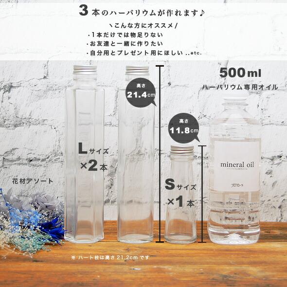 ハーバリウムキットボトルサイズ説明