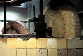 小粒の黒いオリーブだけを石臼で圧搾します。