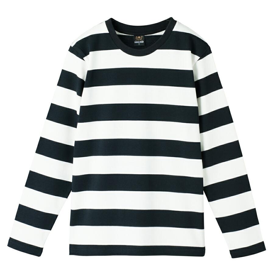 クルーネック ボーダー Tシャツ 長袖