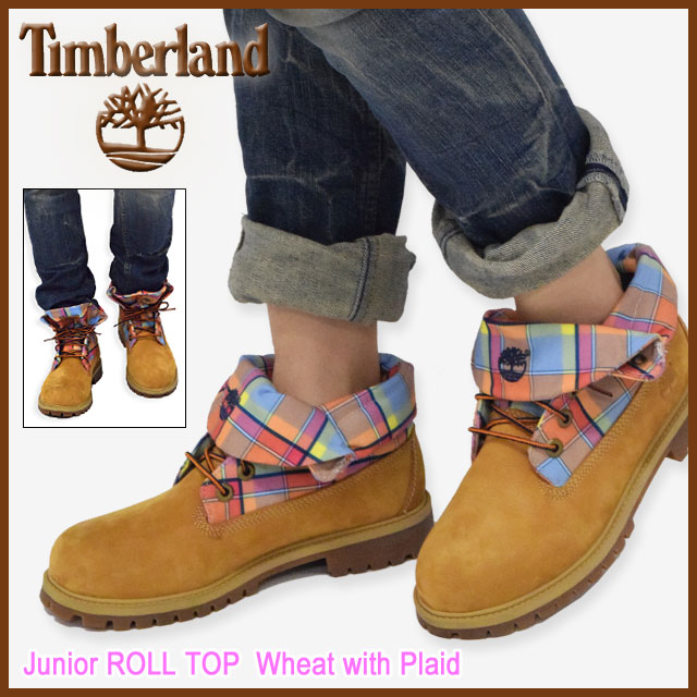 timberland plaid roll top boots women