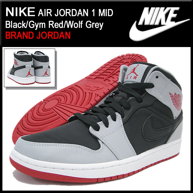 89f6b8fa637a Nike NIKE sneakers Air Jordan 1 mid Black Gym Red Wolf Grey men (men s) (nike  NIKE AIR JORDAN 1 MID BRAND JORDAN Sneaker sneaker SNEAKER MENS-shoes shoes  ...