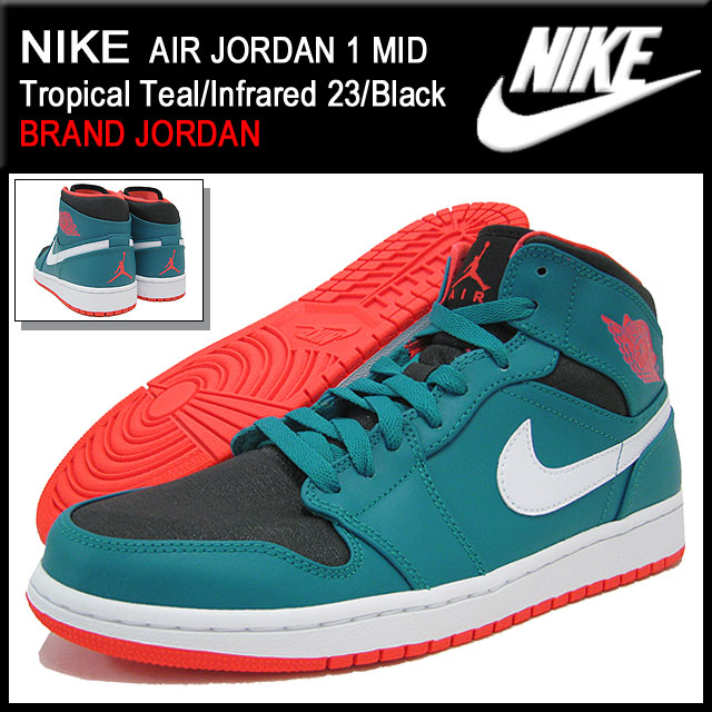 39ba1ee1f18f ... Nike NIKE sneakers Air Jordan 1 mid Tropical Teal Infrared 23   Black  men s ...