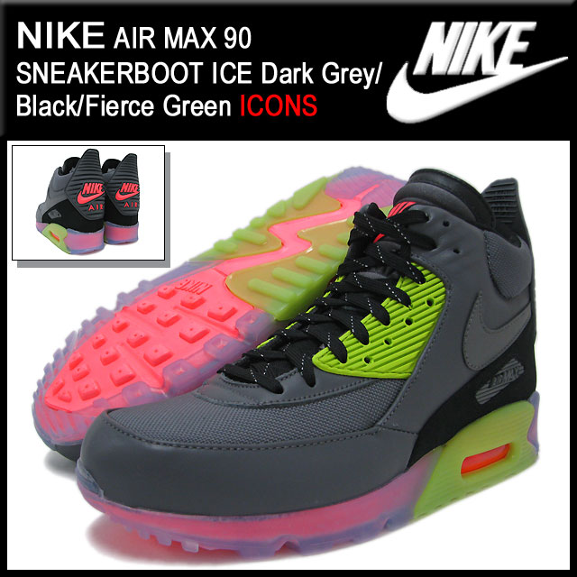 save off 54c11 bafc0 Nike NIKE sneakers Air Max 90 sneaker boot ICE Dark GreyBlackFierce Green  limited edition mens (mens) (nike AIR MAX 90 SNEAKERBOOT ICE ICONS  Sneaker ...