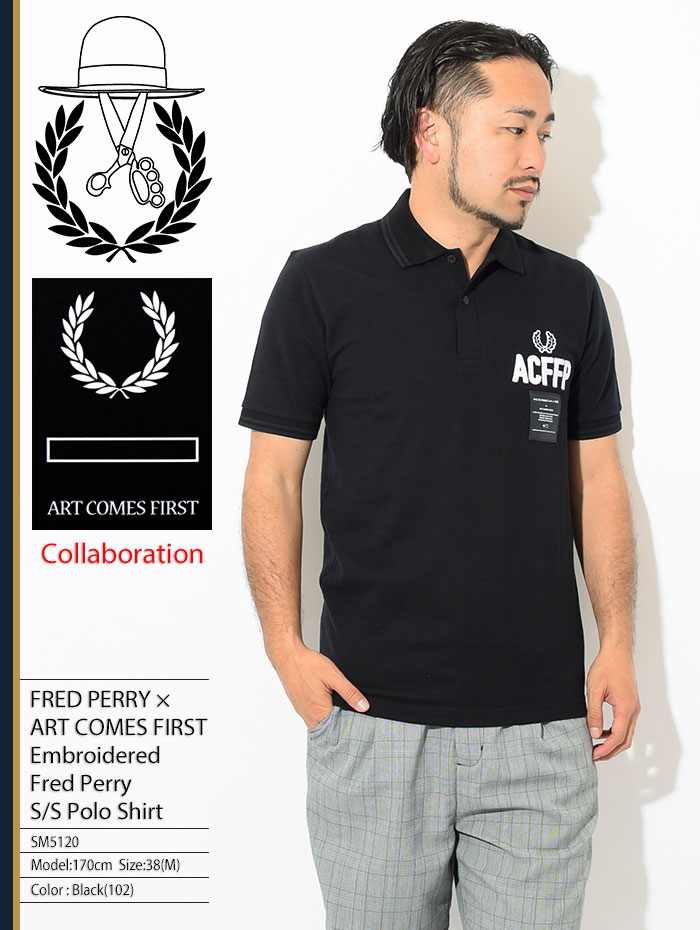 FRED PERRYフレッドペリーのポロシャツ ART COMES FIRST Embroidered Fred Perry Polo Shirt01