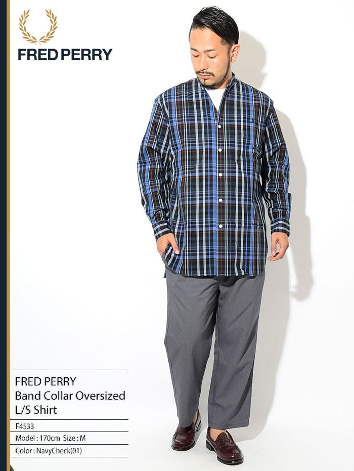 FRED PERRYフレッドペリーのシャツ Band Collar Oversized Shirt01