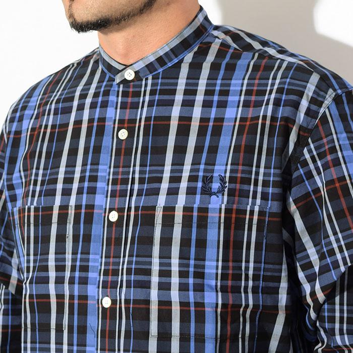 FRED PERRYフレッドペリーのシャツ Band Collar Oversized Shirt05