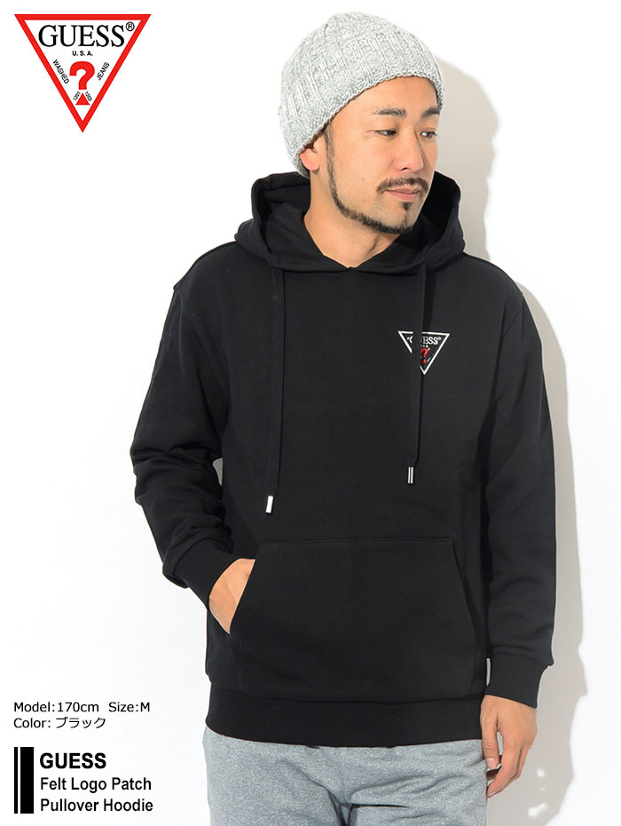 GUESSゲスのパーカー Felt Logo Patch Pullover Hoodie01