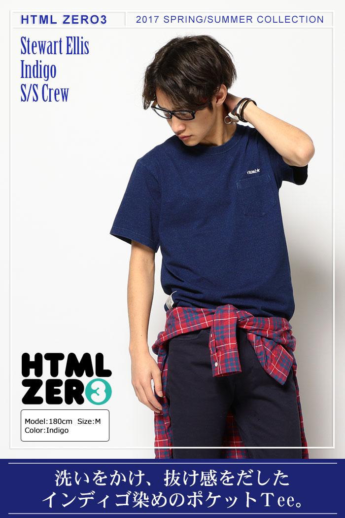 HTML ZERO3エイチティエムエル ゼロスリーのカットソー Stewart Ellis Indigo01
