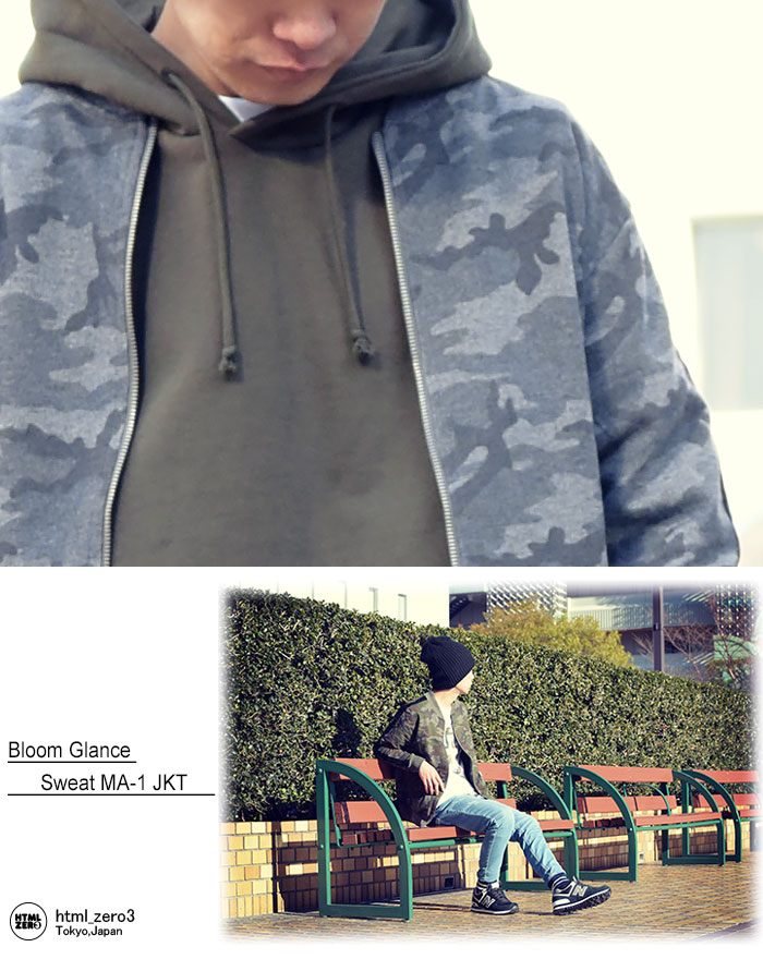 HTML ZERO3エイチティエムエル ゼロスリーのジャケット Bloom Glance Sweat MA-1 03