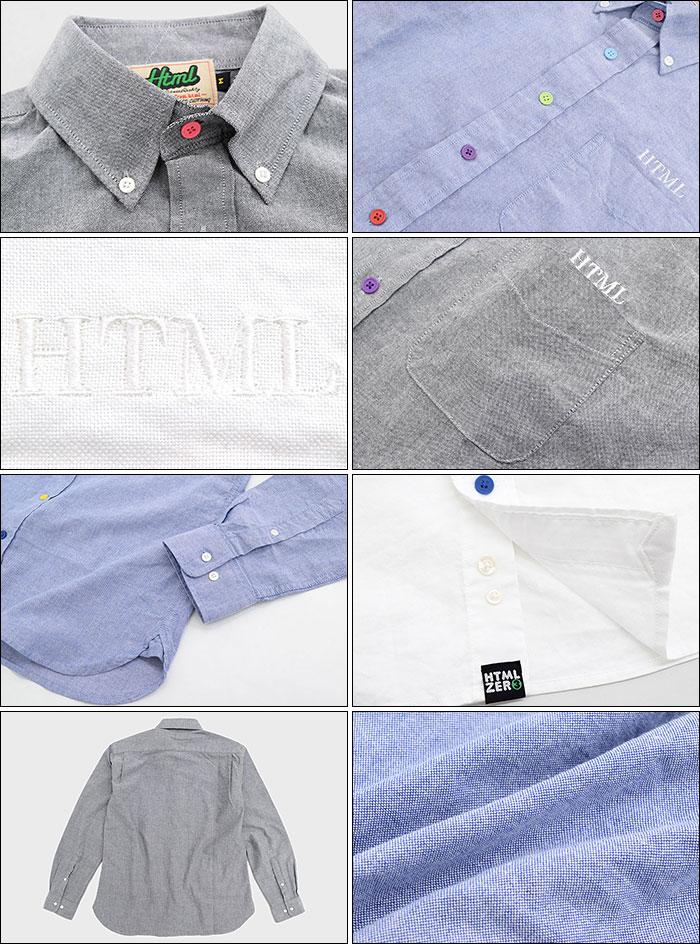 HTML ZERO3エイチティエムエル ゼロスリーのシャツ Various Button Oxford13