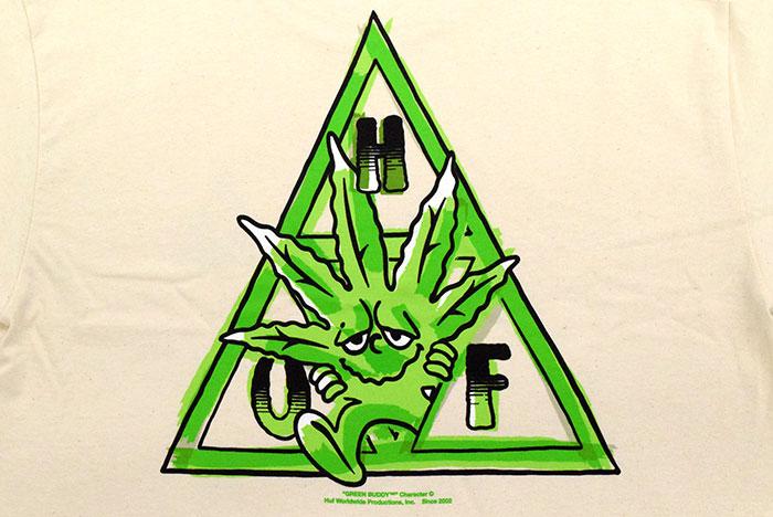 HUFハフのTシャツ Green Buddy TT10
