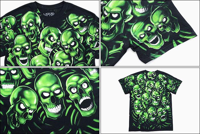 LIQUID BLUEリキッド ブルーのTシャツ Skull Pile Green Black04